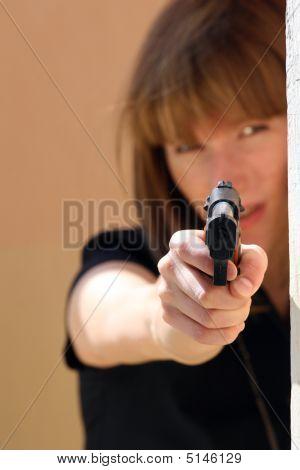 Female Pointing Gun