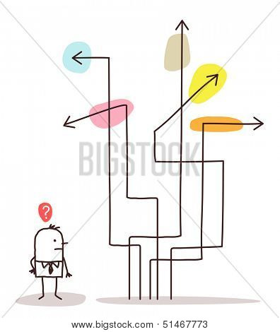 man & direction arrows