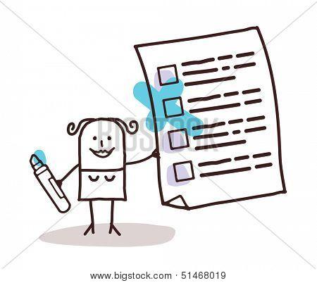 woman & checking list