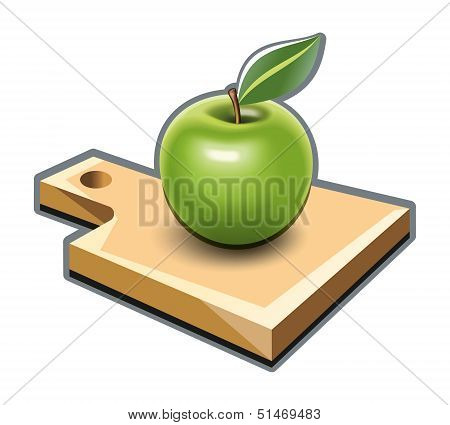 Cutting board with green apple