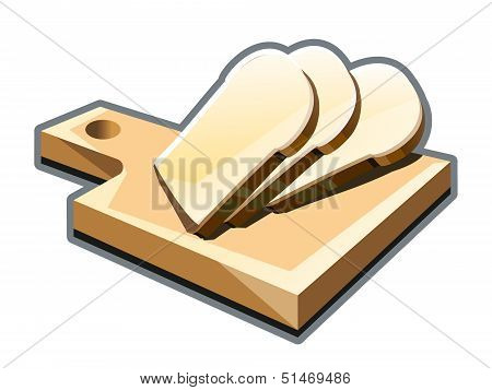 Cut slices of bread on a cutting board