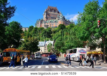 QUEBEC CITY, CANADA - SEP 10: Street view with Chateau Frontenac in the day on September 10, 2012 in Quebec City, Canada. As the capital of Quebec, it is one of the oldest cities in North America.