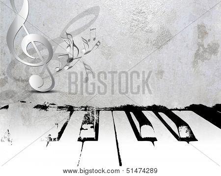 Grunge music background - piano sheet music