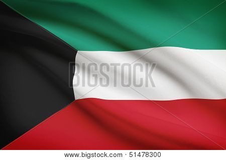 Series Of Ruffled Flags. State Of Kuwait.