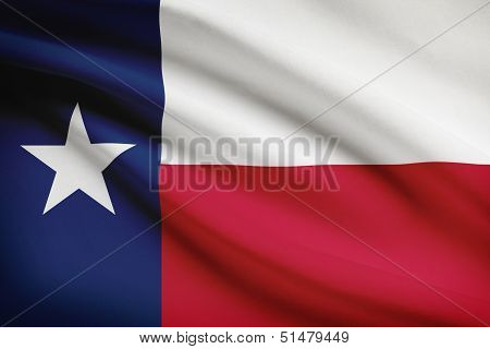 Series Of Ruffled Flags. State Of Texas.