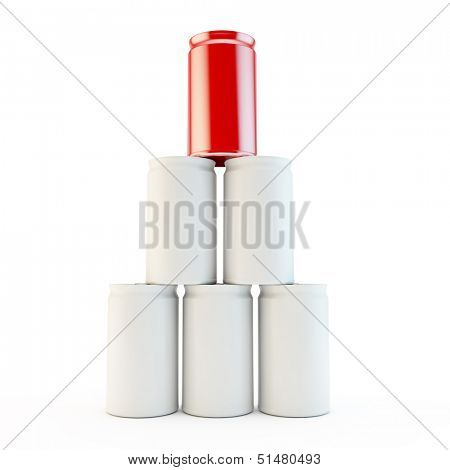blank tower of white cans as an anology of teamwork or success