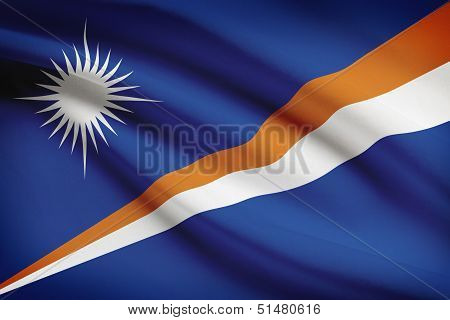 Series Of Ruffled Flags. Republic Of The Marshall Islands.