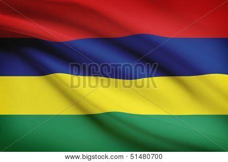 Series Of Ruffled Flags. Republic Of Mauritius.