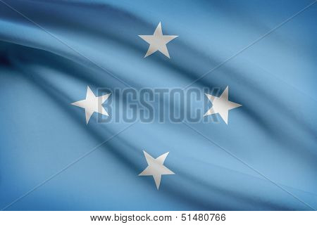 Series Of Ruffled Flags. Federated States Of Micronesia.