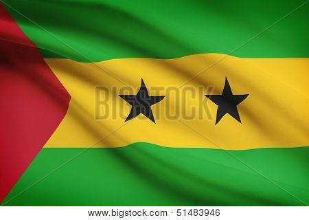 Series Of Ruffled Flags. Democratic Republic Of Sao Tome And Principe.