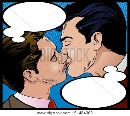Pop Art Style Gay Men Kissing with Thought Bubbles