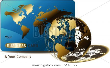Wired Golden Globe With Business Card
