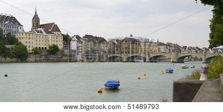 Rhine River And Mittlere Brucke Bridge, Basel