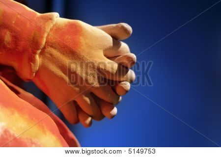 Meditation To Shake Hands With A Blue Background