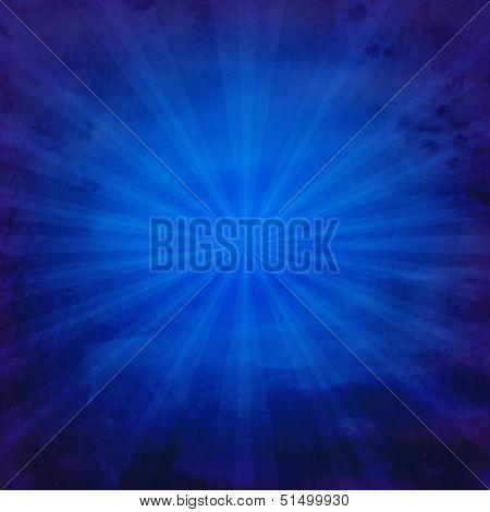 Grunge Blue Texture With Sunburst With Gradient Mesh, Vector Illustration