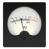 front view of an analog vu meter on white background (3d render) poster