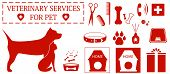 set isolated icon with pet and veterinary services objects poster
