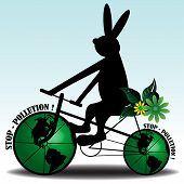 Funny illustration with rabbit riding a bicycle whose wheels are made from two earth globes. Stop pollution concept poster