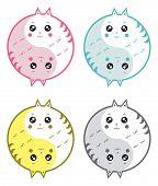 A cute cartoon cats yin yang symbol. poster