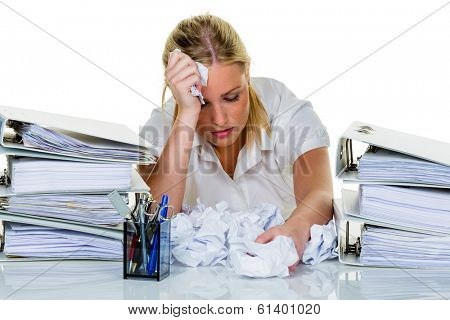 young woman in office is overwhelmed with work. burnout in work or study. poster