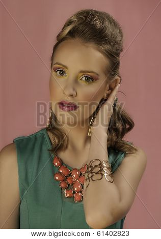 Portrait of retro blonde woman in color