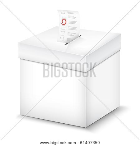 Ballot Box Isolated On White.
