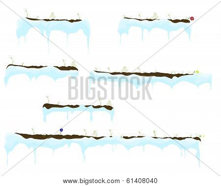 Vector of Ice-sheet with melted icicles, grass with flowers-snowdrops