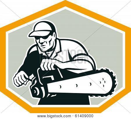 Tree Surgeon Arborist Holding Chainsaw Shield