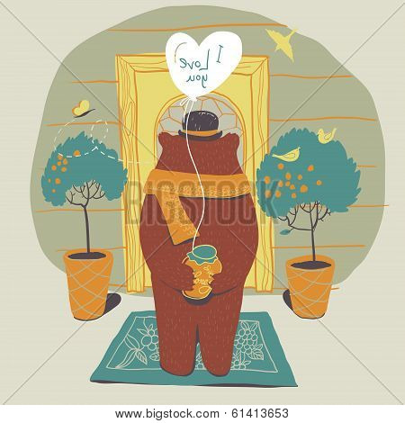 Bear in love on the doorstep of his beloved. In his hands a gift - a jar of honey. Touching scene.