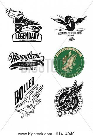 vintage illustration retro race roller skate for apparel 5