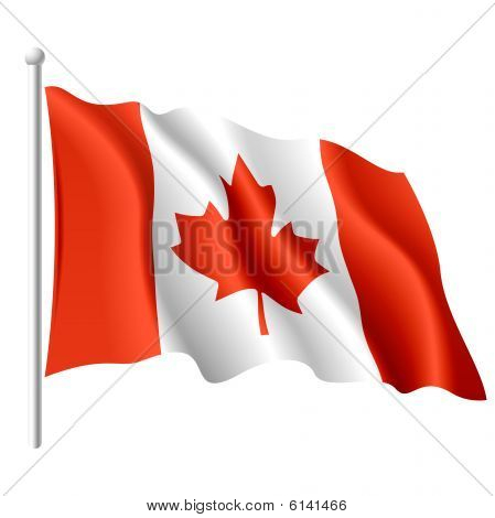 The vector illustration of flying flag of Canada. poster