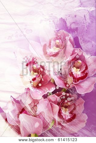 Abstract blooming floral background- watercolor grunge texture