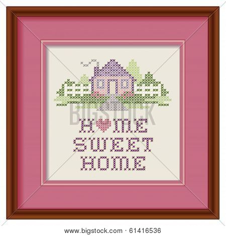 Embroidery, Home Sweet Home Cross Stitch, Wood Picture Frame
