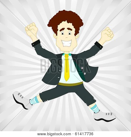 Man Jumping Happy And Victorious On A Gray Background.