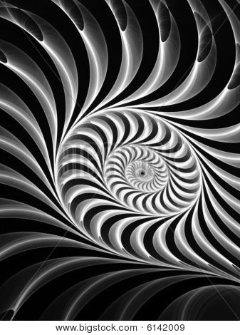 Glowing Monochrome Black to White Spiral