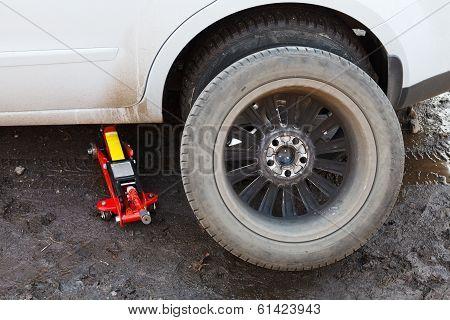 Replacement Of Car Tires - Preparing Wheel
