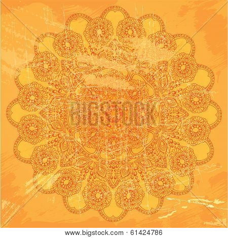 Abstract Circle Lace Pattern On Orange Grunge Background - Image In Indian Etnic Style