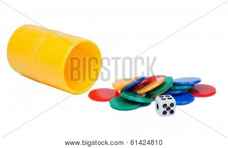 Dices and a yellow cube for ludo game isolated on a white background
