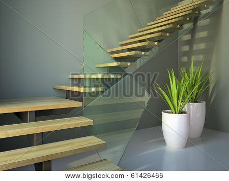 Empty Room With Staircase And Plants Angle View