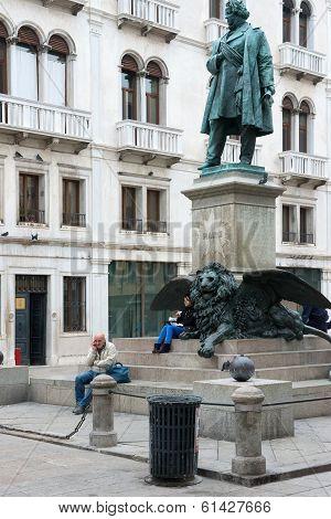 Manin Monument In Campo Manin Square In Venice, Italy.