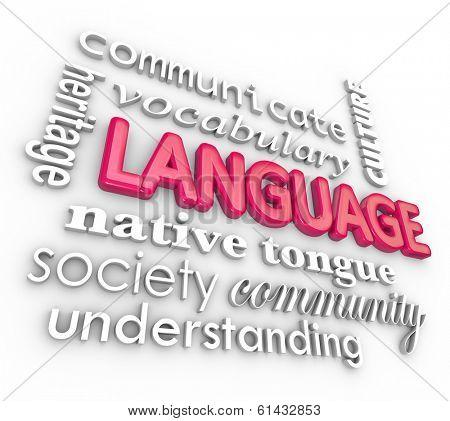 Language 3d Word Collage Heritage Understanding Vocabulary
