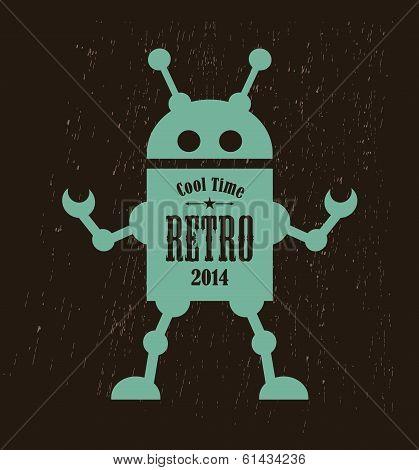Vintage robot. Vector illustration of mechanic monster. poster