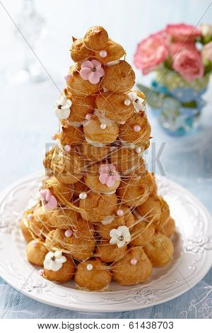 Croquembouche with Pink and White Frosting Roses poster