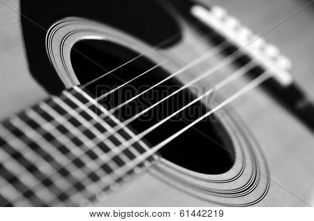 Closeup detail of guitar strings for playing music poster