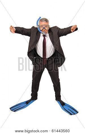 A Brazilian business man diving on white background