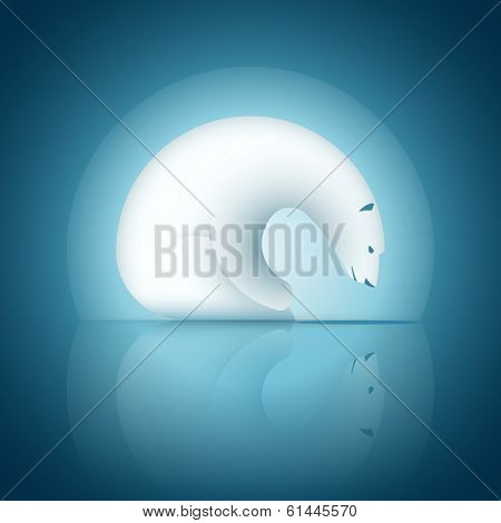 Vector illustration of waiting and hunting polar bear. Symbol design poster