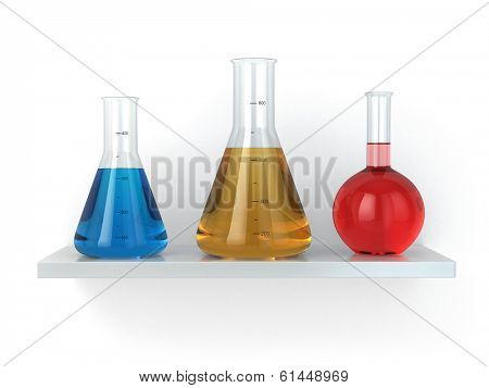Chemical flasks on the shelf. Reagent in lab, 3d poster