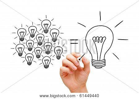 Teamwork Light Bulbs Concept
