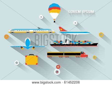 Transportation  long shadow flat images poster