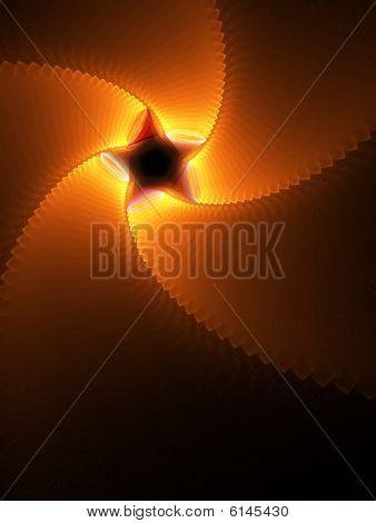 Orange Glow Star Spiral - Fractal Design